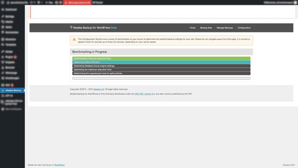 Akeeba Backup WordPress backuprozess