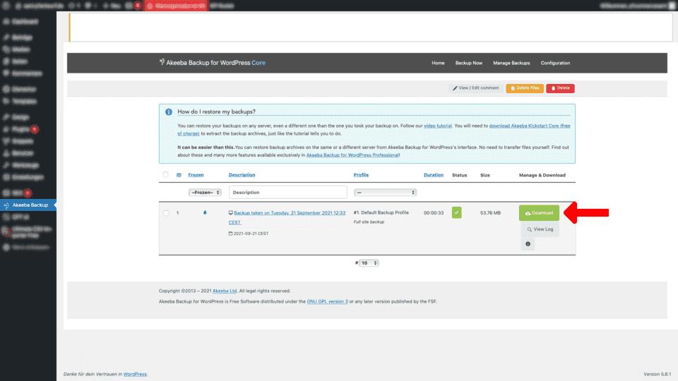Akeeba Backup WordPress download backup